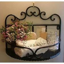 Garden Style Wrought Iron Bathroom Shelves Storage Rack Wall Mounted