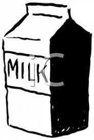 Clip Art Image A Milk Carton In Black and White