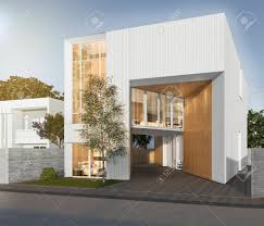 100 Cubic House 3d Rendering White With Modern Design Stock Photo