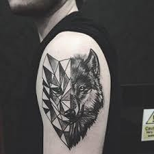 Geometric Canadian Wolf Tattoo