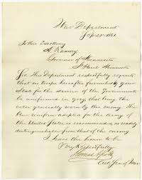 Letter from acting secretary of war requesting that troops not be