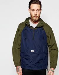 penfield overhead jacket with contrast sleeves showerproof in navy
