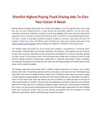 100 Highest Paid Truck Drivers Shortlist Highest Paying Truck Driving Jobs To Give Your Career A