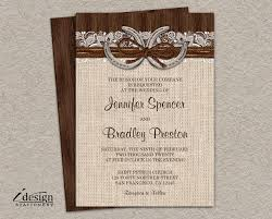 Rustic Country Western Horseshoe Wedding Invitation With Burlap And