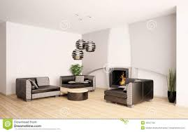 Living Room With Fireplace by Modern Living Room With Fireplace Interior 3d Stock Photos Image