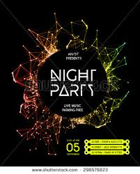 Night Disco Party Poster Background Template
