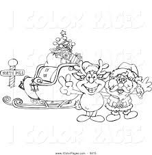 Black And White Coloring Page Outline Of Rudolph Santa With A Sleigh At The North Pole