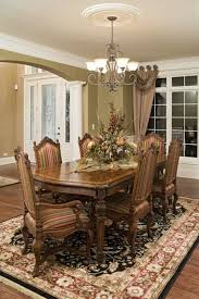 Wooden Dining Furniture With Striped Upholstery Fabric Large Floor Carpet Floral Designs And Classic Table Centerpiece