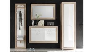 garderobe fernando 4 tlg schrank paneel spiegel schuhkommode hängeregal in sonoma und abs weiß hochglanz