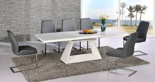 White High Gloss Extending Dining Table And 8 Grey Chairs Set With Regard To