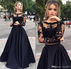 lace long sleeve two piece prom dresses 2017 black scoop neck