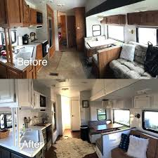 Travel Trailer Remodel Before And After Camper Ideas For Renovating Trailers