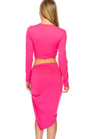 fuchsia lace up long sleeve bodycon two piece party dress