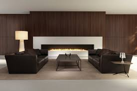 Dark Masculine Living Room With Wood Walls And Brown Sofas
