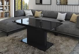 design couchtisch tisch dc 1 schwarz hochglanz stufenlos höhenverstellbar ausziehbar esstisch