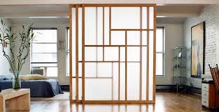 Apartment Zen Studio With Textured Glass Retractable In Room Divider Ideas 5