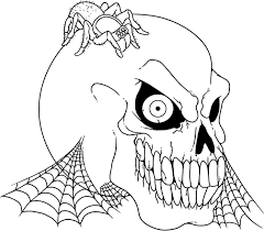 Scary Halloween Skull And Spider Coloring Pages Free Online Printable