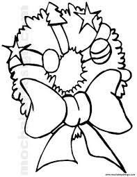 Christmas Bows Coloring Pages Web Wreath