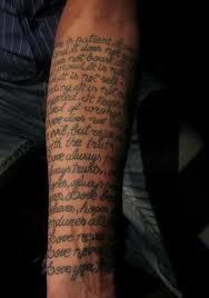 Full Arm Scripture Cross Tattoos