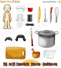 50 OFF Kawaii Dress Up Chef Kitchen Cooking Appliances Clipart Pack 36 Graphics W Paper Doll Scrapbooking PNG Color Black And White