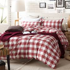 Aliexpress Buy Red and white plaid duvet cover set for