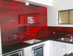 Red Splashback Residential Kitchen Brisbane