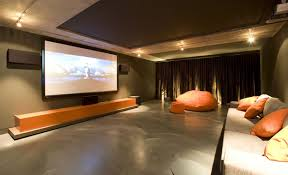 Home Theater Room Size Cool Decoration Statue White Color Paint Ideas Wooden Wall Decor Furnished Brown Vurnished Floor