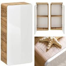 badezimmer hängeschrank luton 56 hochglanz weiß wotaneiche b x h x
