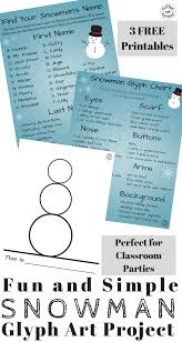 Snowman Glyph Art Project Thats Perfect For Winter Class Parties Classroom Projects And Homeschool