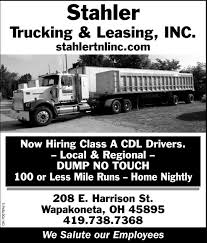 100 Cdl Trucking Class A CDL Drivers Stahler Leasing Inc