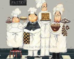 Chef Decor For Kitchen by Fat Chefs Art Print Chef Paintings Art Kitchen Art Wall