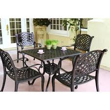 8 Person Outdoor Table by Darlee Nassau 5 Piece Cast Aluminum Patio Dining Set With Square