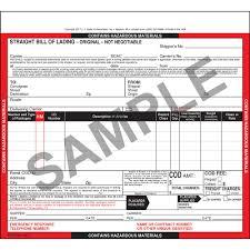100 Truck Bills Of Lading Hazardous Materials Straight Bill Of