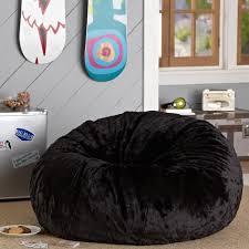 Black Luxe Faux Fur Beanbag