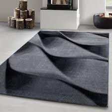 designer teppich kurzflor wohnzimmerteppich wellen figur soft flor schwarz