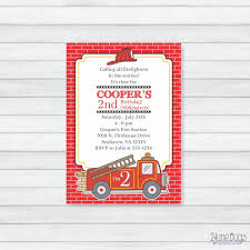 Fire Truck Party Invitation Fireman Party Invitation | Etsy