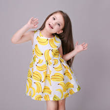 trendy sundress banana printing girls clothes kids clothes one