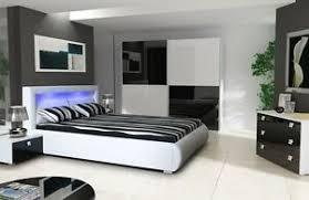 details zu schlafzimmer komplett hochglanz weiss schwarz schrank bett mit led 2 nako