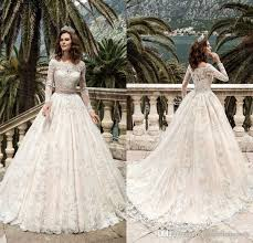2017 Stunning Full Sleeves Lace Wedding Dresses Vestidos De Noiva Pricess Ball Gown Dress Custom Made Vintage Bridal Gowns Ba4103