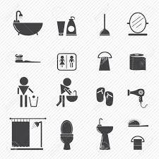 badezimmer symbole auf weißem hintergrund