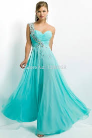 com buy custom crystal one shoulder a line light blue chiffon