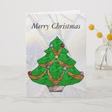 Celtic Knot Christmas Tree In Stained Glass Holiday Card