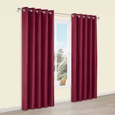 Faux Silk Eyelet Curtains by Edlyn Red Plain Faux Silk Eyelet Blackout Curtains W 228 Cm L