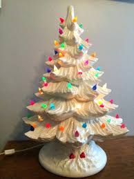 Simple White Ceramic Tree Multi Colored Lights Tall Vintage With Christmas Old Time Light Up Holiday