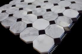 bianco carrara white marble 2 octagon polished mosaic tile