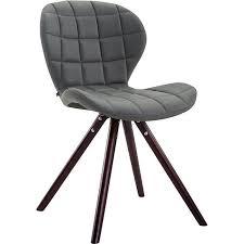 clp besucherstuhl alyssa rund mit hochwertiger polsterung und kunstlederbezug esszimmerstuhl mit holzgestell grau cappuccino eiche