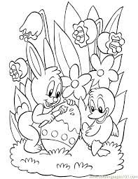 Happy Bunny And Duck Easter Eggs Printable Coloring Page For
