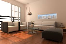 Simple Living Room With Redish Brown Wood Flooring White And Dark Grey Furniture