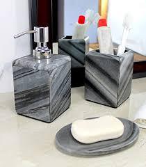 kleo badaccessoires set aus naturstein badaccessoires set mit seifenspender zahnbürstenhalter seifenschale grau 3er set