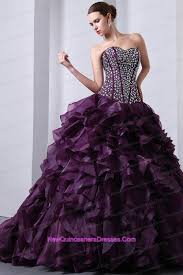 purple strapless beading brush ruffles organza quinceanea gown